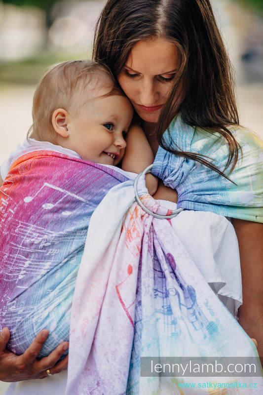 LennyLamb Ring Sling - řasený sklad - SYMPHONY RAINBOW LIGHT