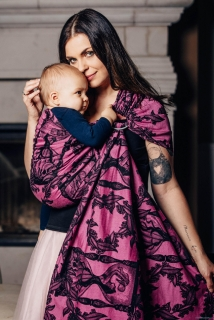 LennyLamb Ring Sling - řasený sklad - TIME BLACK & PINK with skull