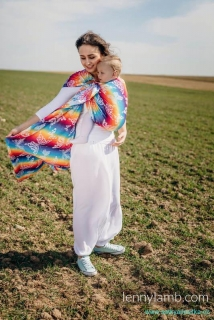 LennyLamb Ring Sling - řasený sklad - BUTTERFLY RAINBOW LIGHT