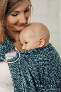 LennyLamb Ring Sling - řasený sklad - LITTLE LOVE - OCEAN BLUE