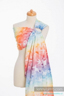 LennyLamb Ring Sling - řasený sklad - SWALLOWS RAINBOW LIGHT